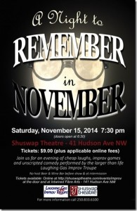 Luaghing Gas Improv 'A Night to Remember' Nov. 15, 2014 poster